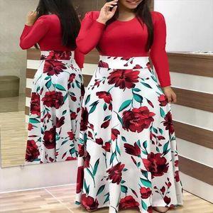 LOSSKY Plus Size Womens autumn Print Stitching Flower Casual Long Dress 2020 Vestido Bodycon Elegant Sexy Lady Maxi Dress Women