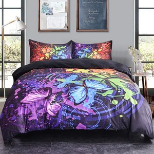 3d Animal Flying Butterflies Prined Duvet Cover Set Colorful Butterfly Bedding Set Queen King Size Soft Bed Cover For Home