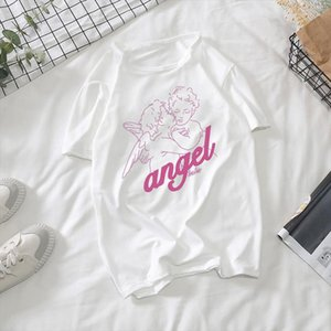 New Fashion Kawaii Angel Printed Women Top amp;Tees Summer Loose Oversize Streetwear Casual Clothing Pink cute Harajuku fun T Shirts