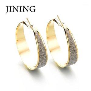 Jining Fashion Big Drop Brincos para mulheres grandes moagem redonda arenáceo anéis de círculo anéis brincos jóias festa presente1