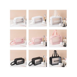 A multi-purpose portable multi-function thick translucent cosmetic bag fashion portable large-capacity square cosmetics and toiletries stora