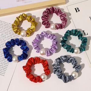 Cuerda de goma Cuerda Chicas Elásticas Scrunchie Ponytail Holder Pearl Beads Mujeres Bandas de Pelo Ties Accesorios Para Mujeres