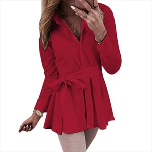 New 2019 Shirts women Casual Long Sleeve Blouse Elegant Long Shirt Top Office Ladies Blouse Turn down Collar Shirt with Belt