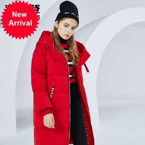 Bosideng Women Doan Chaqueta largo abrigo con capucha con capucha invierno caliente espesado Outwear B80141002