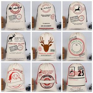 크리스마스 선물 Drawstring 캔버스 산타 자루 크리스마스 대형 캔버스 단일 산타 클로스 Drawstring 가방 Reindeers DH0211