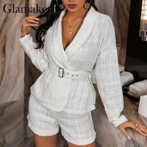 Glamaker White spring autumn 2 piece suits Office ladies elegant blazer and shorts 2020 Female fashion sets with belt