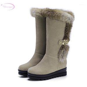 Chaineee зимние плюшевые теплые снежные сапоги удобные нубук меховые ремня пряжка плоский середины теленок сапоги женские туфли большой размер1