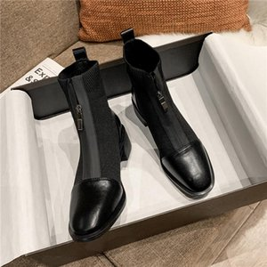 Winter Boots Lady Women's Rubber Shoes Rain Boots-Women Zipper Round Toe 2020 Stockings Mid Calf Rock Low Autumn Mid-Calf