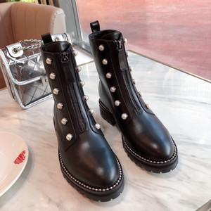 Designer Womens Boots Black Pearl Steel Ball Decoration Front Zipper Round Head Low Heel High Quality With Box Size 35-40