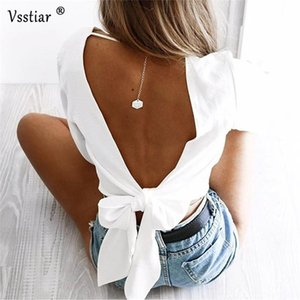 Long Sleeve Women Party Blouse Sexy V Neck Backless Skinny Ladies Shirts Club Casual Lace Up Bow Short Blouses Female