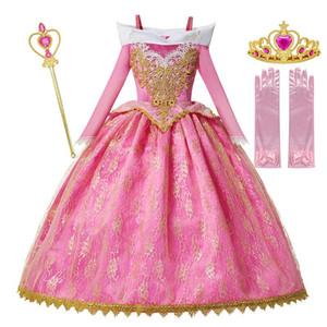 MUABABY Девушки Делюкс Спящая красавица принцесса костюм с длинным рукавом Pageant партии платье Дети Fancy одеваются платьицах 3-10T Q1118