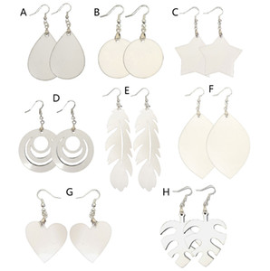 14 styles sublimation blank Earrings Double-sided sublimation earring leaves shape eardrop with DIY earring gift party favor