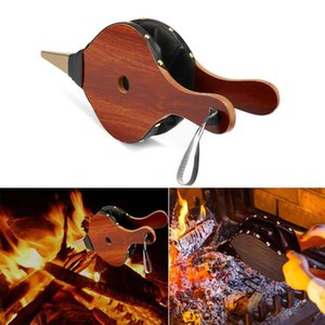 39*17cm Vintage Wooden Manual Air Blower Fan Blower for Barbecue Fire Bellows Outdoor Cooking Picnic Camping Hiking