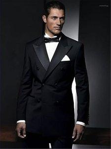 재단사가 블랙 더블 브레스트 신랑 턱시도 2 조각 슬림 맞는 망 웨딩 댄스 파티 저녁 정장 재킷 + 바지 블레이저 Masculino1