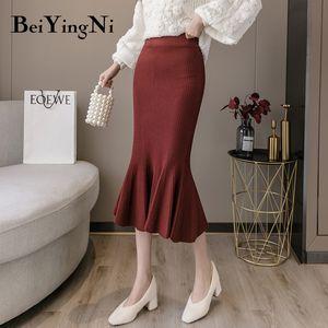 Beiyingni Pencil Skirts Womens Solid Sexy Package Elastic High Waist Midi Elegant OL Skirt Korean 2020 Autumn Winter Jupe Femme F1214