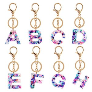2021 Trend Women Key Chain Alloy Big A-Z 26 Letters Key Holder Bright Colored Acrylic Initials Charms Bag Pendant Accessories
