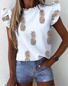 Mulheres Pineapple Floral Imprimir Ruffle Blusa 2020 borboleta do verão camisa de manga Lady Escritório Tops Blusa Streetwear