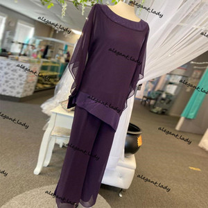 Grape Sequined Mother Of The Bride Pant Suits Long Sleeves Bateau Neck Wedding Guest Dress Plus Size Chiffon Mothers Groom Dress