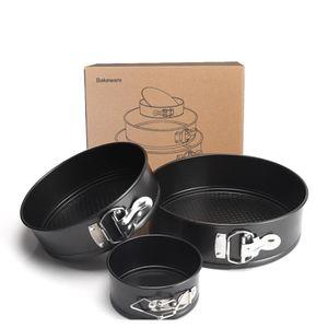 Black Springform Pan Set Anstick Leak Prosulex 3PCS 4 7 9 дюймов Торт Pan Bakeware Гибкая пряжка Круглый Чизкейк Pan HBGJ01 EENXL