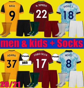 2020 2021 Wolves Semedo Raul Neto Soccer Jerseys 20 21 Wanderers J.otto Podence Camicie da calcio Adama Uomo Kit Kit Kit Set Uniforme