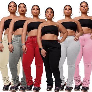 Women's casual trousers Autumn And Winter 2020 New fashion Solid color leisure large women's pants drawstring sports casual pile pants