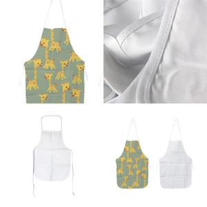 Küche Schürzen Sublimation Blanks DIY Ölfest Antifouling Weiß Leinwand Uniform Schal 70x48 cm Druck Frauen Männer Neue Ankunft 89ex M2