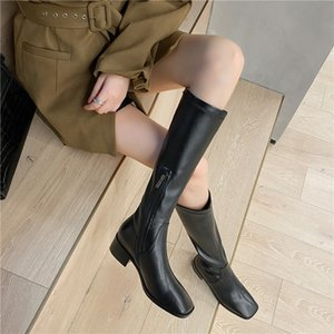 Hot Sale FEDONAS Concise Side Zipper Genuine Leather Knee-High Ladies Boots Square Tor Thick Heels Pumps Winter Party Basic Shoes Woman