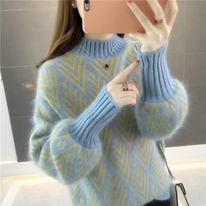 Autumn Winter Knitted Sweater Women 2021 new Korean Fashion Loose Lazy Short Lantern Sleeve Sweaters Pullovers Female Tops