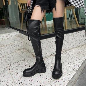 Çizmeler 2021 Kış Dana Üstü-Diz Kadın Uyluk Yüksek Platformu Hakiki Deri Streç Ayakkabı Kalın Topuk Botas Feminina