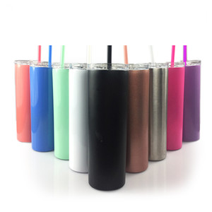 Stainless Steel Vacuum Straw Cup 20oz Men Women Double Deck Pure Color Sublimation Straight Skinny Tumbler 13ds J2