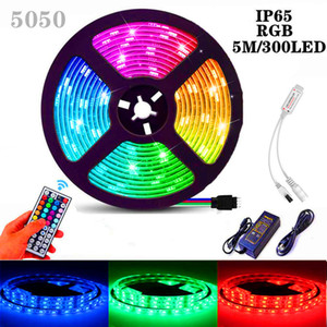 LED Light Strip 5050 2835 RGB Colorful Epoxy Waterproof 12V Light Belt Set 44 Key Remote Control Decorative Light