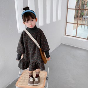 Winter baby girls floral double layer loose casual dress warm high collar oversized fleece lining princess dresses 201128