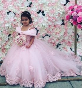 comunion baby pink lace flower girl dresses 2020 long train First communion pageant dresses party birthday dress tutu skirt