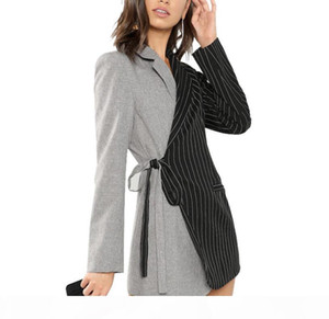 Autumn Women Blazers And Jackets Colorblock Tie Waist Surplice Wrap Womens Blazer Notched Outerwear Ladies Long Coat