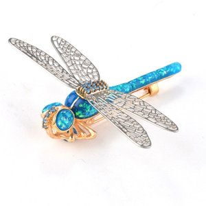 Fashion Jewelry Brooch Rhinestone Dragonfly Brooch Pins Women Breastpin Corsage Girls Jewelry Gift 4 Colour Select