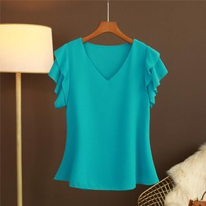 2020 New Fashion Womens blouse Tops Summer Short sleeve Chiffon shirt Solid V neck Casual blouse Plus Size 5XL Loose Female Top
