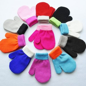Baby Winter Warm Mittens Kids Knitted Gloves Boys Girls Anti-chaos Grabbing Mitten Student Scratch Candy Color mittens 1-4 year