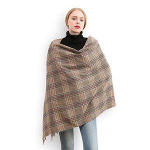 Tartan plaid imitation cashmere scarves with tassel women winter thick neck warmer brushed wool blanket scarf shawl wraps new
