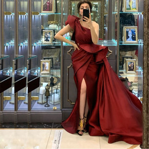 Burgundy Front Split Overskirt Evening Dresses One Shoulder Ruched Satin Celebrity Evening Gown Simple Prom Dress 2021