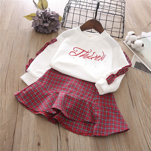 2Pcs Girls Casual Clothing Set Spring Long Sleeves Kids Sports Cute Top and Skirt Birthday Performance Clothes 3-7 Ys Wearing