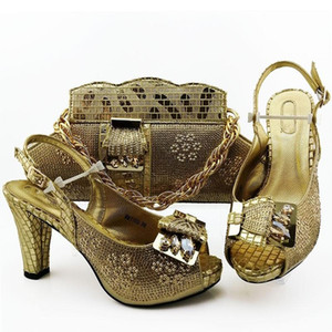 Elegant wedding party gold African high heel sandal shoes and handbag set nice matching for lady dress MM1100 Heel Height 10.5CM