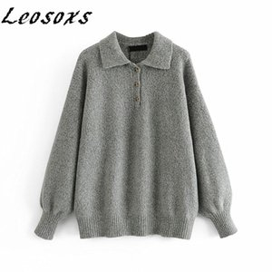 Leosoxs simple Loose Solid women sweaters pullovers Knitted Long Sleeve lapel casual all-match Sweater 2021 Spring Autumn New