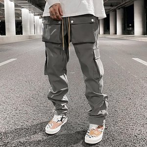 High Street Multi-pocket Casual Trousers for Men and Women Side Breasted Drawstring Cargo Pants Harajuku Solid Loose Pants
