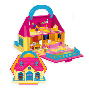 girl suitcase doll house Children's play house toy Assembly set Toy Model Building Kits villa house DIY Furniture Accessories LJ200909