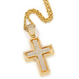 Religious Christian Small 18k Gold Diamond CZ Cross Pendant Necklace Jewelry Copper Men Cross Necklace for Man Women