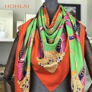 100% Silk Scarf Women Bandana Hijab Spring Autumn Female Square Silk Scarves For Women Printed Shawls Beach Cover-ups 130*130cm LJ200911
