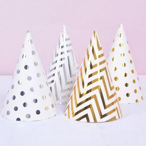 Birthday Party Hats Polka Dot Stripe Baby Kids Birthday Party Handmade Paper Cap Decoration Hat GWE3121