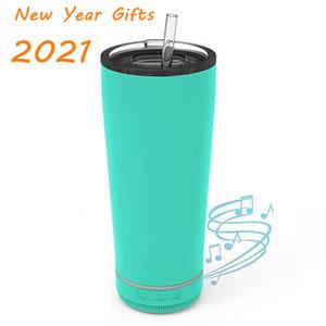 2021 Mode Neujahr Geschenk 18 Unzen Kreative Bluetooth Music Tumbler Wasserdichte Lautsprecher Doppel Wand Thermos Edelstahl Tragbare Kaffeetasse