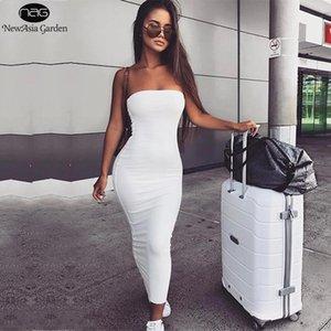 Newasia Garden 2 Katmanlar 2020 Pamuk Yaz Elbise Kadınlar Sonbahar Maxi Elbise Seksi Bodycon Uzun Elbiseler Beyaz Vestido Midi New1
