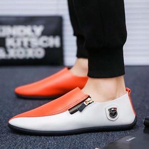 Spring Respirável Ervilhas Sapatos Homens Flat Slip-On Wearable Coreano Corais Sapatos Casuais Lazy Sapatos Moda Dois Tom com Calçado